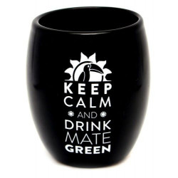 Matero tykwa Oval Black Keep Calm do Yerba Mate