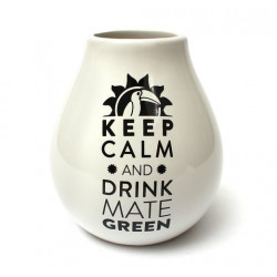 Matero tykwa White Keep Calm do Yerba Mate