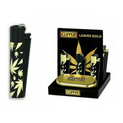 Zapalniczka Clipper Metal Leaves Gold czarna