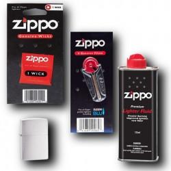 Zestaw Zippo Brushed Chrome Benzyna Kamienie