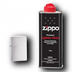 Zippo Brushed Chrome plus Benzyna 125ml
